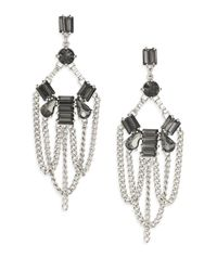 ABS By Allen Schwartz | Metallic Beaded Chain Chandelier Earrings | Lyst
