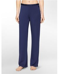 Calvin Klein | Blue Underwear Essentials Satin Trim Lounge Pants | Lyst