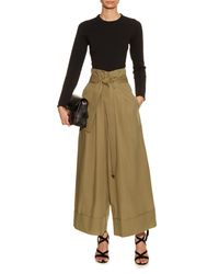 Adam Lippes | Green Wide-leg Cotton-poplin Cropped Trousers | Lyst