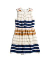 Madewell | Multicolor Shirred Silk Dress in Hazestripe | Lyst