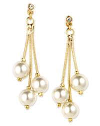 Anne Klein | Metallic Gold-tone Cream Plastic Pearl Drop Earrings | Lyst