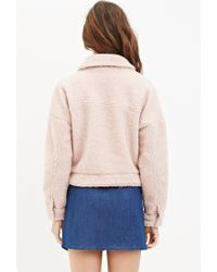 Forever 21 | Pink Faux Shearling Jacket | Lyst