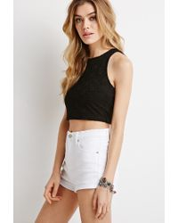 Forever 21   Black Lace Crop Top   Lyst