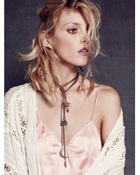Free People - Metallic Snake Chain Charm Bolo - Lyst