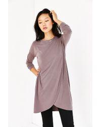 Silence + Noise Brown Tulip Hem Tunic Dress