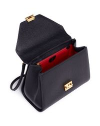 Mark Cross Black 'hadley' Small Leather Flap Bag