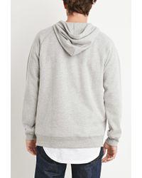 Forever 21 - Gray Brushed Knit Raglan Hoodie for Men - Lyst