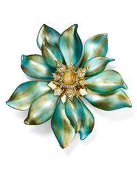 Alexis Bittar Green Lucite Floral Punk Petal Pin