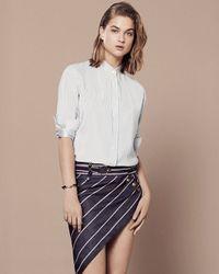 Anthony Vaccarello - Blue Three Button Stripe Skirt - Lyst