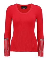 Sonia Rykiel Red Stretch Ribbed-knit Sweater