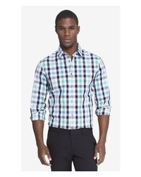 Express Blue Fitted Plaid Dress Shirt for men