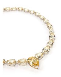 CZ by Kenneth Jay Lane | Green Pear Cut Cubic Zirconia Necklace | Lyst