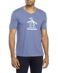 Original Penguin | Blue V-Neck Underscore Penguin Tee for Men | Lyst