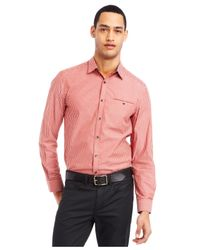 Kenneth Cole Reaction - Orange Iridescent Check Shirt for Men - Lyst