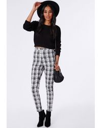 Missguided - Check Skinny Fit Trousers White - Lyst