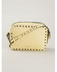 Valentino Yellow Rockstud Calf-Leather Cross-Body Bag