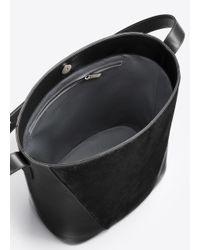 VINCE | Black Modern V Haircalf Medium Bucket Bag | Lyst
