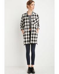 Forever 21 | Black Buffalo Plaid Longline Shirt | Lyst