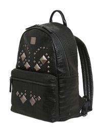 MCM Black Medium Star Embossed Leather Backpack for men