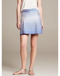 Banana Republic Blue Stripe Open-Pleat Skirt