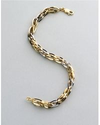 Lord & Taylor | Metallic Mens 14k Two Tone Gold Bracelet for Men | Lyst