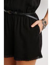 Forever 21 - Black Crochet Trim Belted Romper - Lyst