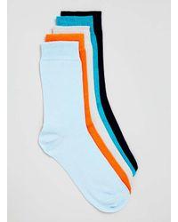 TOPMAN - Multicolor Plain 5 Pack Socks for Men - Lyst