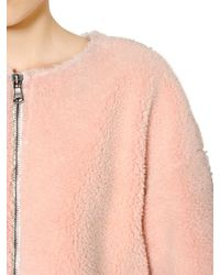 MSGM Pink Faux Shearling Cocoon Coat