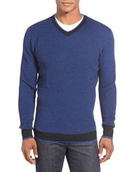 Bugatchi | Blue V-neck Sweater for Men | Lyst