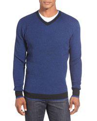 Bugatchi - Blue V-neck Sweater for Men - Lyst