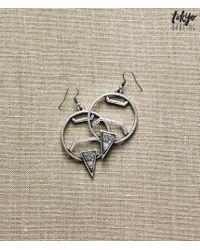 Tokyo Darling | Metallic Circle Geo Stone Earrings | Lyst