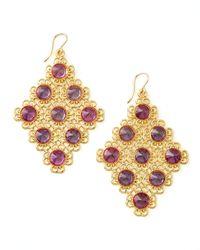 Devon Leigh | Metallic Pink Alexandrite Diamond-shaped Chandelier Earrings | Lyst