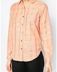 Ganni - Pink Natasha Check Shirt In Rose Dawn - Lyst