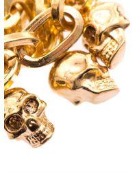 Alexander McQueen Metallic Multistrand Skull Charm Bracelet