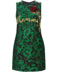 Dolce & Gabbana - Green Floral Jacquard Embellished Dress - Lyst