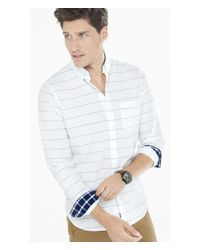Express - White Soft Wash Striped Shirt for Men - Lyst