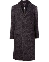 R13 - Black Leopard Print Layered Hooded Coat - Lyst