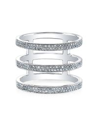 Anne Sisteron | 14kt White Gold Diamond Triple Bar Ring | Lyst