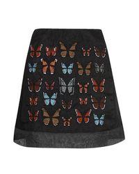 TOPSHOP Black Butterflies Mini Skirt
