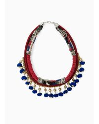 Mango | Blue Pompom Ethnic Necklace | Lyst