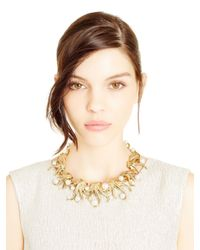 Oscar de la Renta | Metallic Light Gold Sea Swirl Pearl Necklace | Lyst