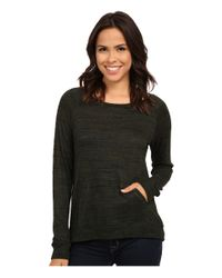 Allen Allen | Green Front Pocket Long Sleeve Crop Crew | Lyst