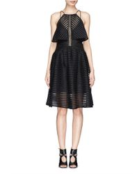 Self-Portrait Black Stripe Mesh Overlay Flare Dress