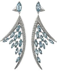 Shaun Leane | Blue Aerial 18ct White-gold And Aquamarine Earrings | Lyst