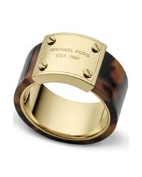 Michael Kors | Brown Goldtone Tortoise Logo Plaque Ring | Lyst