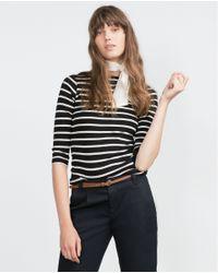 Zara | Blue Chinos With Belt | Lyst