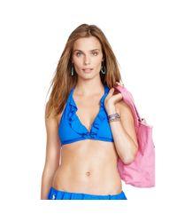 Polo Ralph Lauren - Blue Ruffled Halter Bikini Top - Lyst