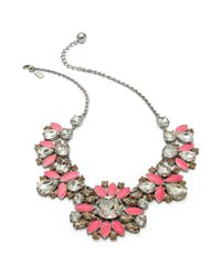 kate spade new york - Pink Rhodiumplated Frosty Crystal Cluster Frontal Necklace - Lyst