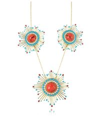 Les Nereides - Gypsunset Red And Turquoise Necklace W/3 Suns - Lyst