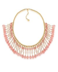Carolee | Pink Golden Trellis Semi-Precious Collar Necklace | Lyst